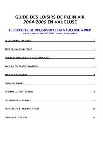 guide des loisirs de plein air 2004-2005 en vaucluse - Un coin ...