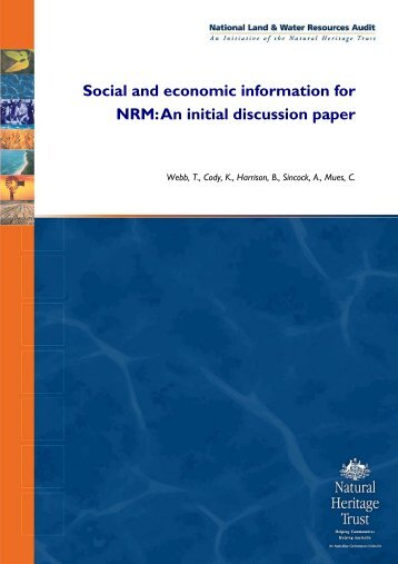Social and economic information for NRM: An initial discussion paper