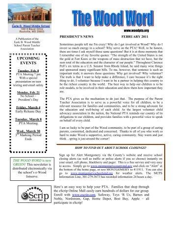 February 2011 (PDF) - Earle B. Wood Middle School PTA