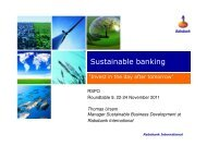 Sustainable Banking: 'Invest In The Day After Tomorrow' - RT9 2011