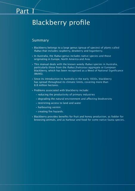 Blackberry profile - Weeds Australia