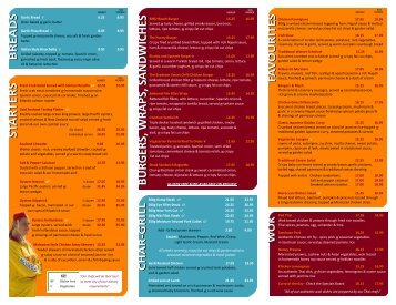 Menu - Northcliffe Surf Life Saving Club