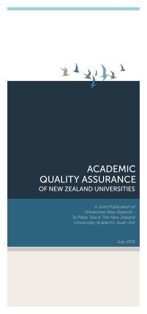 AcAdemic QuAlity AssurAnce - Universities New Zealand - Te Pōkai ...