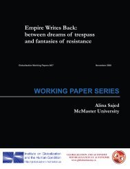 WORKING PAPER SERIES Empire Writes Back - McMaster University