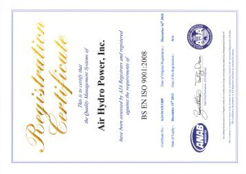 ISO 9001:2008 Quality Certification - Air Hydro Power Inc