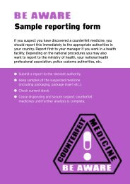 Sample reporting form