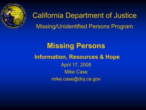 Missing/unidentified persons program