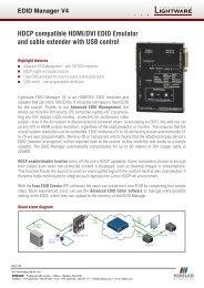 HDCP compatible HDMI/DVI EDID Emulator and cable ... - VIDELCO