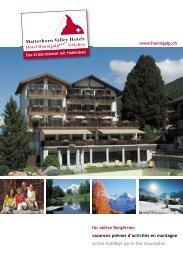 für aktive Bergferien vacances pleines d'activités en montagne ...