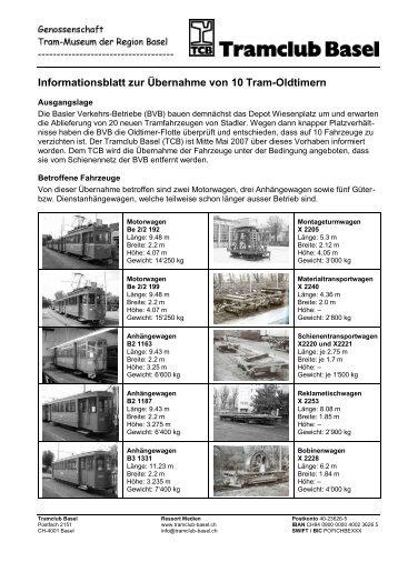 TCB-Informationsblatt - bei Tram-Oldtimer Basel