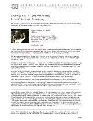 MICHAEL SMITH + JOSHUA WHITE Artists' Talk and Screening