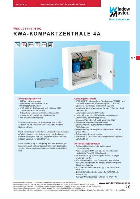 WindowMaster BMZ Modul WSA 306 0101 Rauchabzuganlage BMZ