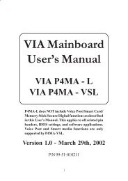 VIA Mainboard User's Manual VIA P4MA - VIA Technologies, Inc.