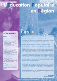 EDITORIAL L'Education Populaire en Région - PSDR Coxinel
