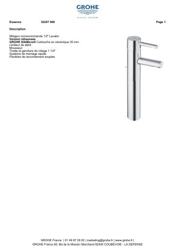 description mitigeur monocommande 12 lavabo version - Schema Montage Robinet Grohe