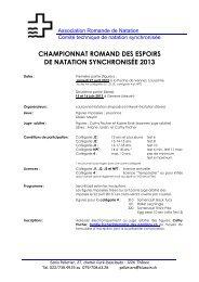 championnat romand des espoirs de natation synchronisée 2013