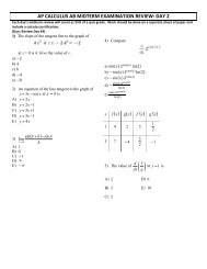 AP CALCULUS AB MIDTERM EXAMINATION REVIEW: DAY 2