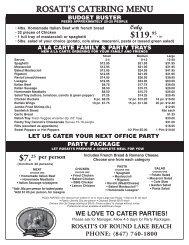 8.5 x 11 Catering Menu Round Lake - Rosati's Pizza