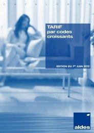 TARIF par codes croissants - Aldes