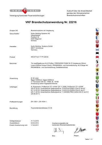 VKF Brandschutzanwendung Nr. 22216 - Wicona.ch