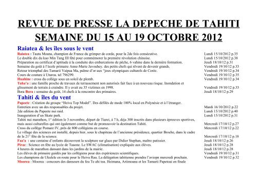 revue de presse la depeche de tahiti semaine du 15 au 19 ...