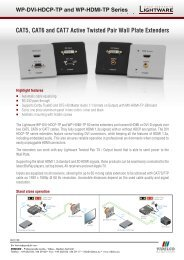 CAT5, CAT6 and CAT7 Active Twisted Pair Wall Plate ... - VIDELCO