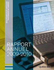 Rapport annuel 2009-2010 - Bibliothèque et Archives nationales du ...