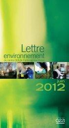 lettre environnement juin 2012.indd - Direction des sciences du ...