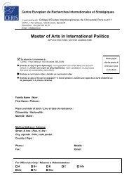 Master of Arts in International Politics - ceris.be