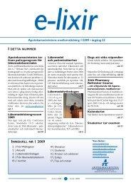 Apotekarsocietetens medlemstidning 1/2009 • årgång 22
