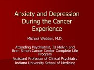Anxiety and Depression During the Cancer Experience