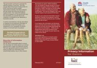 Privacy Information for Carers - Sydney Local Health District