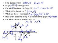 • Find f(0) and f (-6) • Is f(3) positive or negative? • For what numbers ...