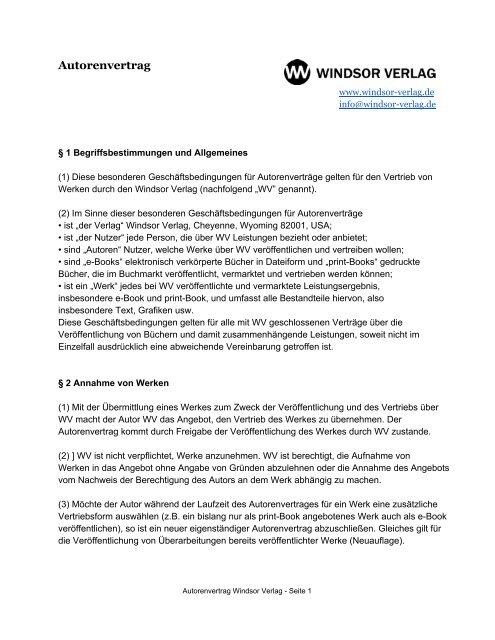Autorenvertrag ok - Windsor Verlag