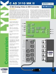 12 Bit Analog Video to SDI Converter - LYNX Technik AG