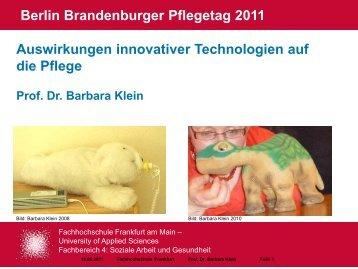 Kontakt Prof. Dr. Barbara Klein - Berlin Brandenburger Pflegetage