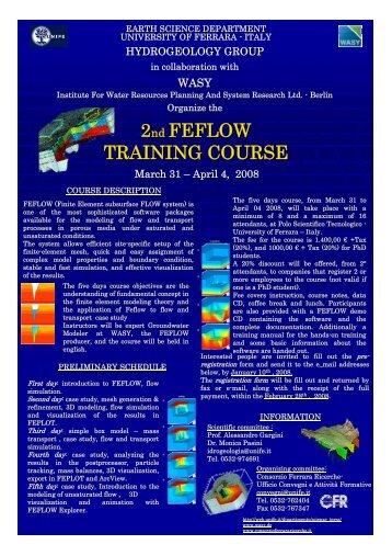 2nd FEFLOW TRAINING COURSE