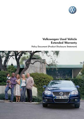 Volkswagen Used Vehicle Extended Warranty Policy Document