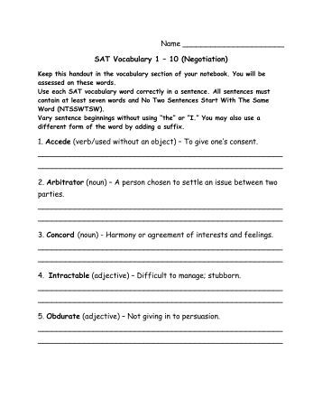 Printables Sat Vocabulary Worksheets sat vocabulary worksheets free intrepidpath free