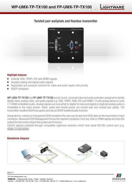 Twisted pair wallplate and floorbox transmitter - VIDELCO