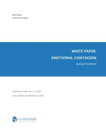 WHITE PAPER: EMOTIONAL CONTAGION - Six Seconds