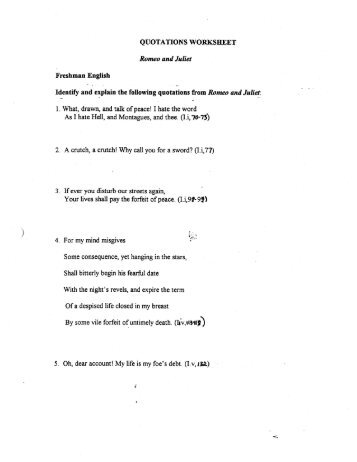 QUOTATIONS WORKSHEET Romeo and Juliet