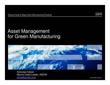 Asset Management for Green Manufacturing - Singapore ...