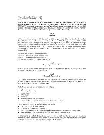 """Art. 1 Indizione L'Università Commerciale """"Luigi Bocc"""