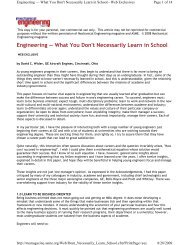 Engineering — What You Don't Necessarily Learn in School