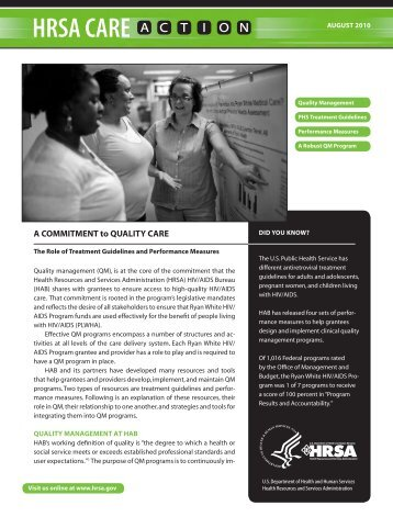 A Commitment to Quality Care - HRSA HIV/AIDS Programs