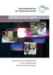Leistungsspektrum der Abteilung Analytik - CUTEC-Institut GmbH