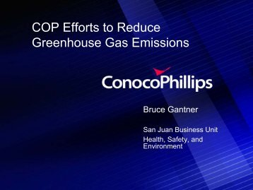 ConocoPhillips Efforts to Reduce GHG Emissions at San Juan ...