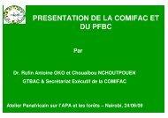 PRESENTATION DE LA COMIFAC ET DU PFBC