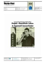 Anzeige Blatt Gais Umgebung - Rauchfreie Lehre
